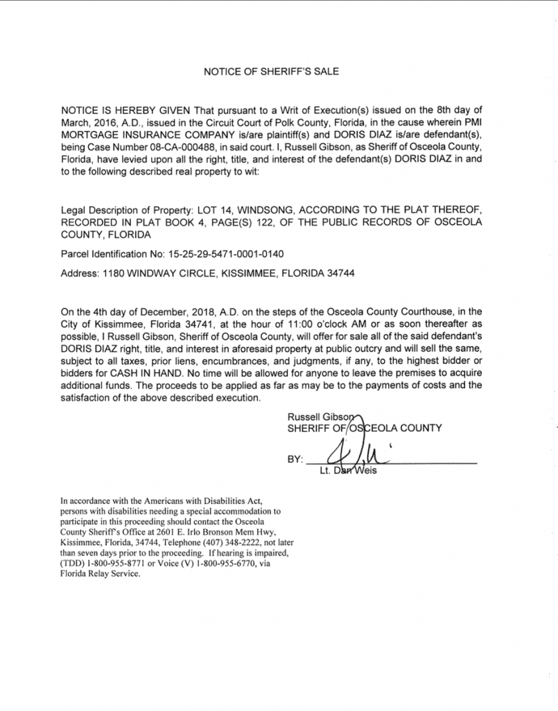 notice of sheriff sale