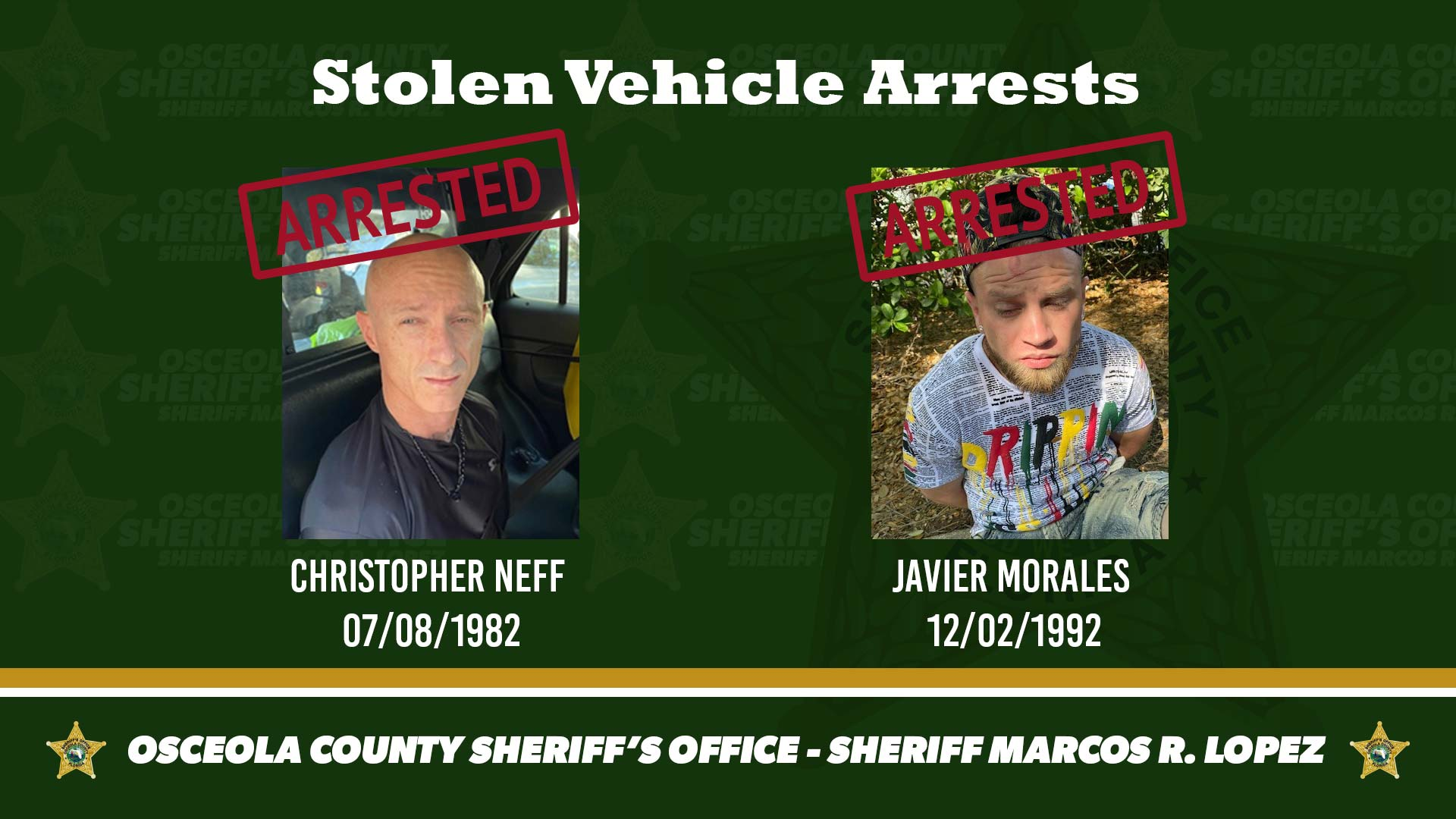Stolen Vehicle arrests