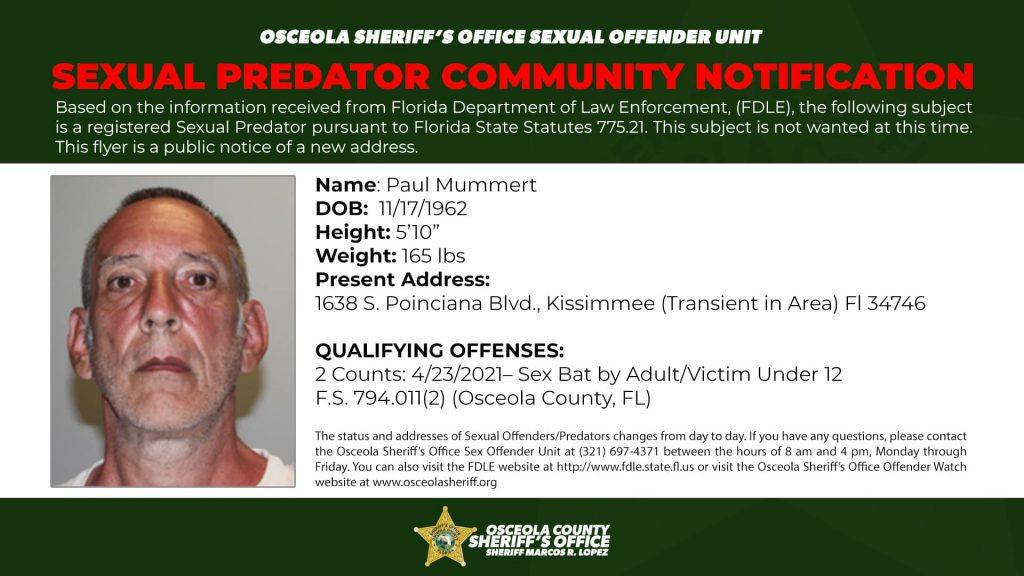Paul Mummer - Sex Offender Notification