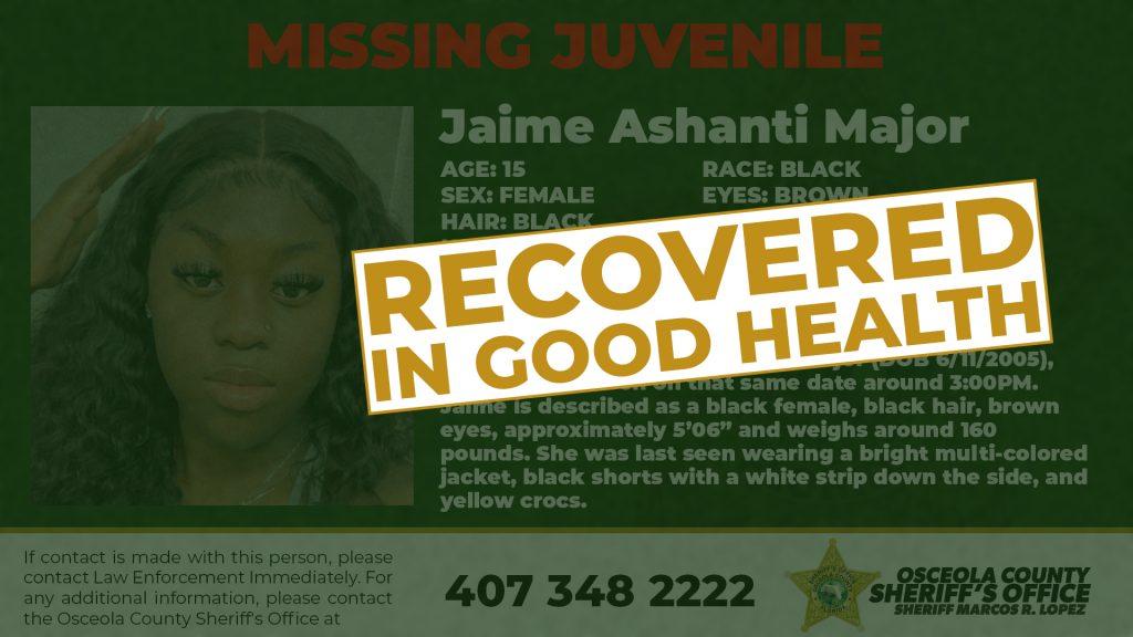 Jaime Ashanti Majors - Missing Juvenile _Recovered