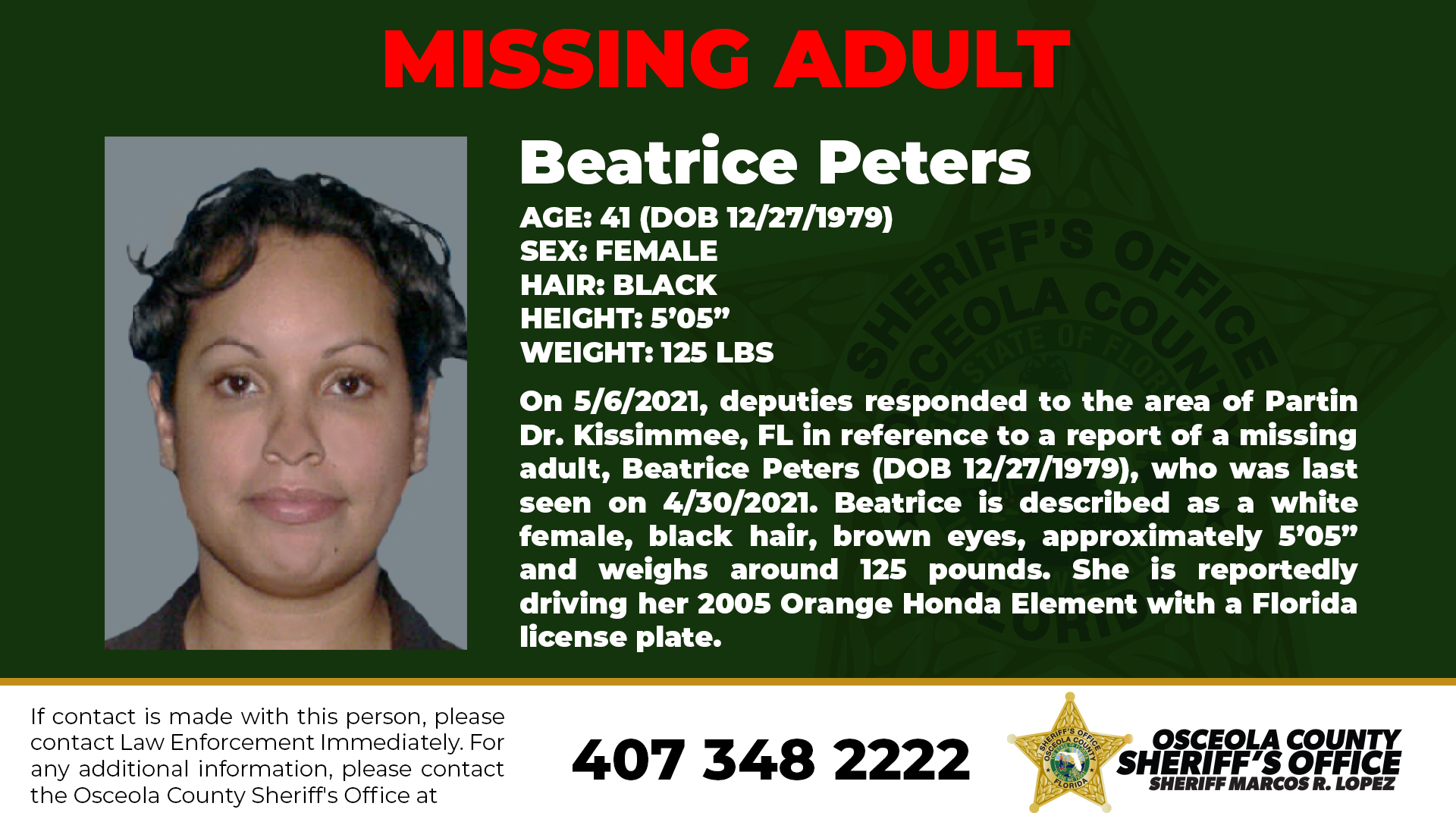 Beatrice Peters - Missing Adult