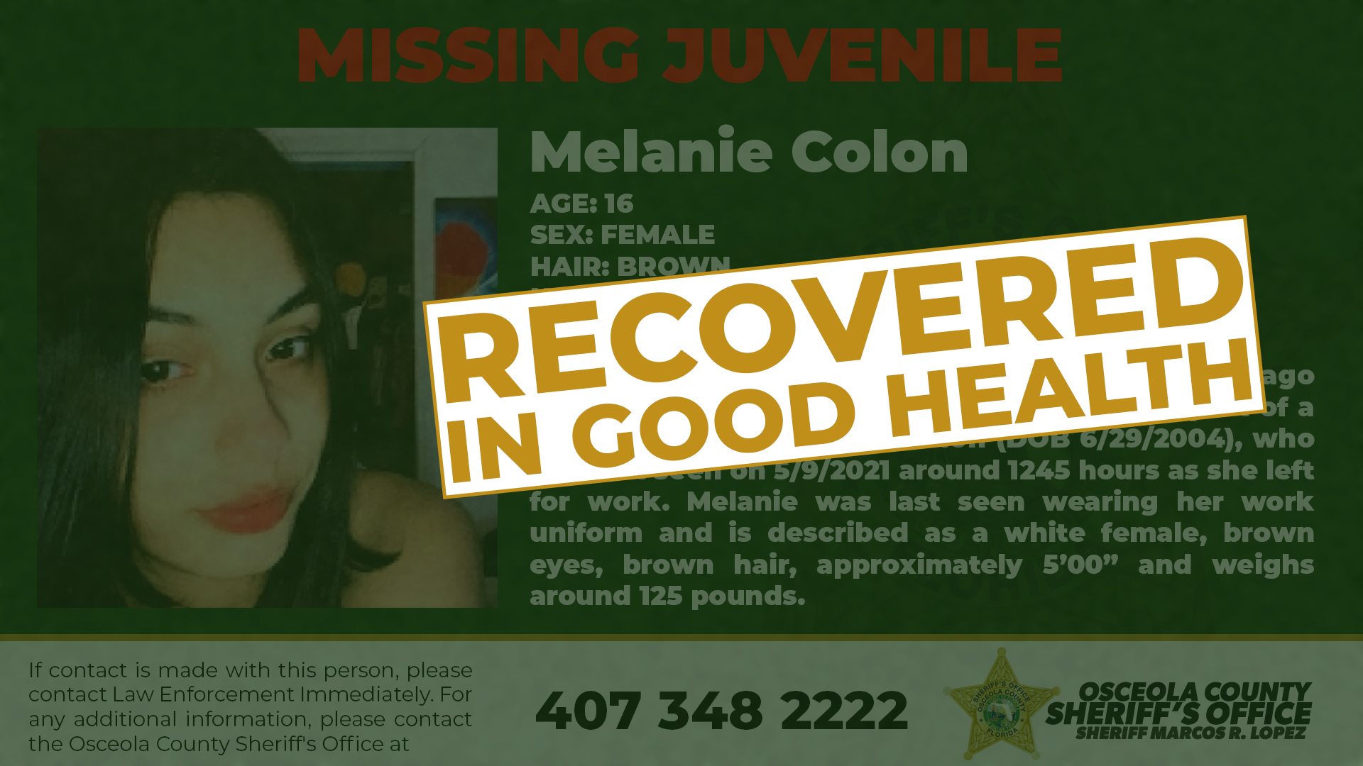 Melanie Colon Recovered
