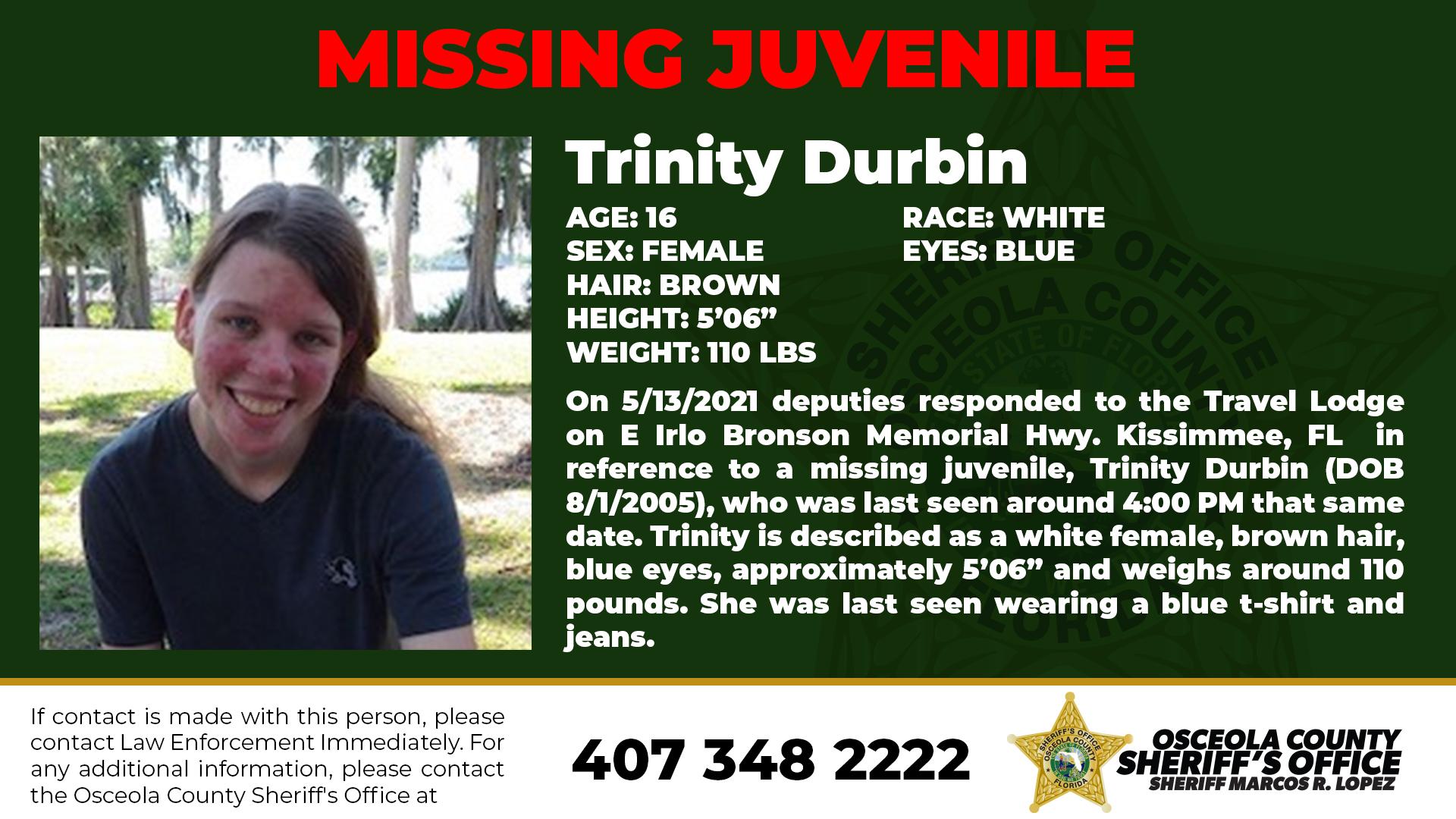 Missing Juvenile Trinity Durbin