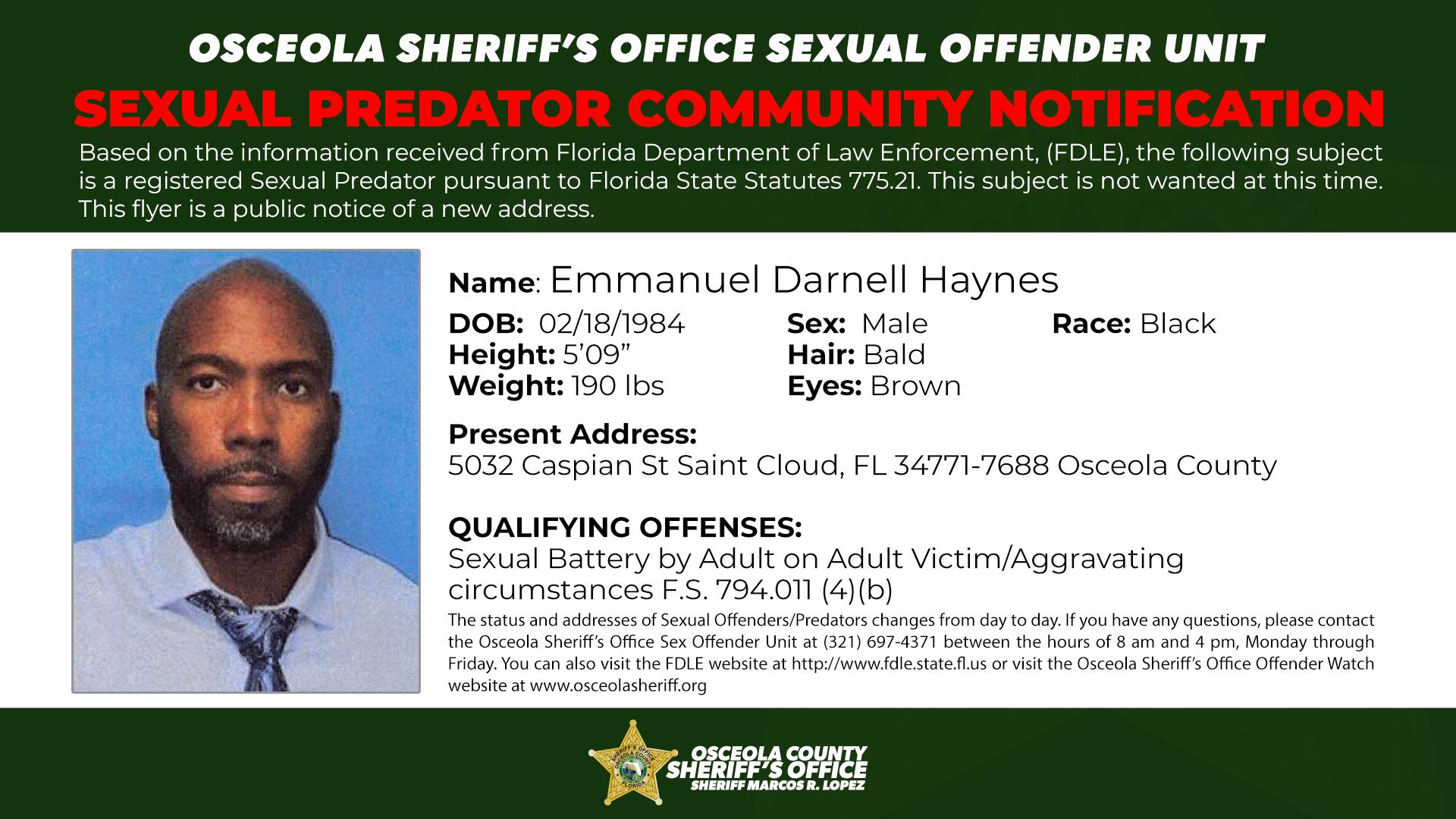 Emmanuel Darnell Haines - Sexual Predator