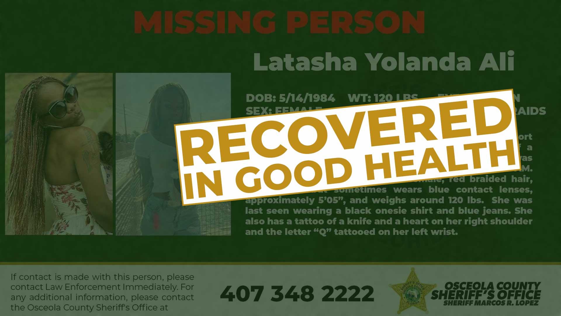 UPDATE MISSING MISSING ADULT - Latasha Yolanda Ali has been found in good health. #sheriffmarcoslopez #TogetherAsOne #osceolacounty #unitedforosceolacounty #lawenforcement #protectandserve
