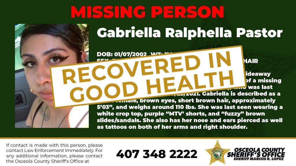Gabriella Recovered in Good Health