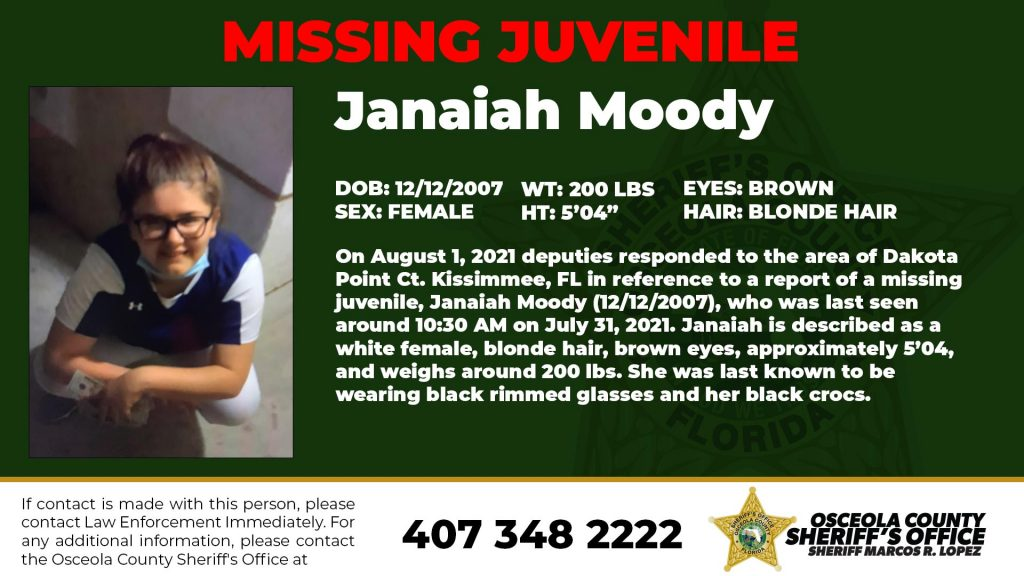 Missing Juvenile Janaiah Moody