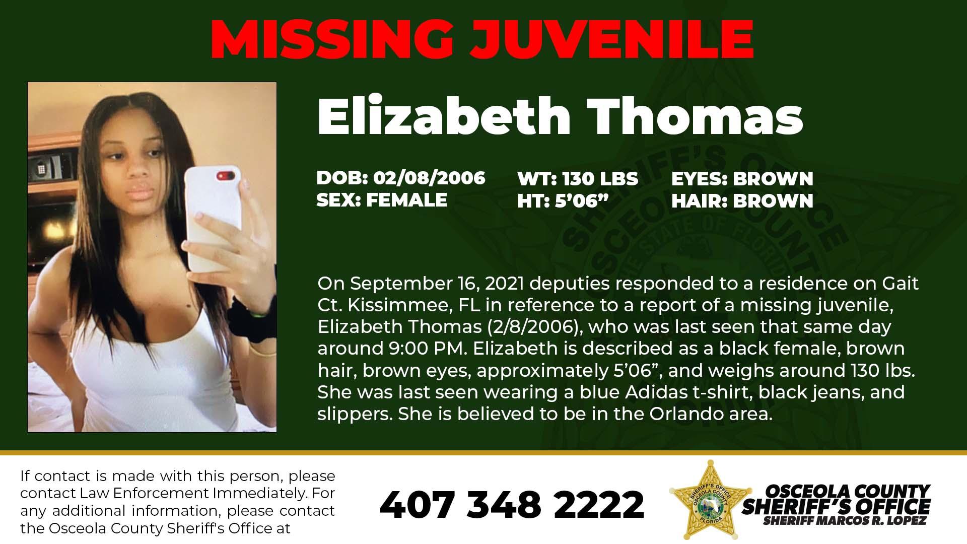 Missing person Elizabeth Thomas