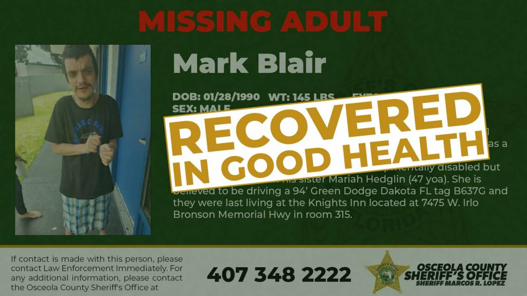 Mark Blair has been Found in Good Health