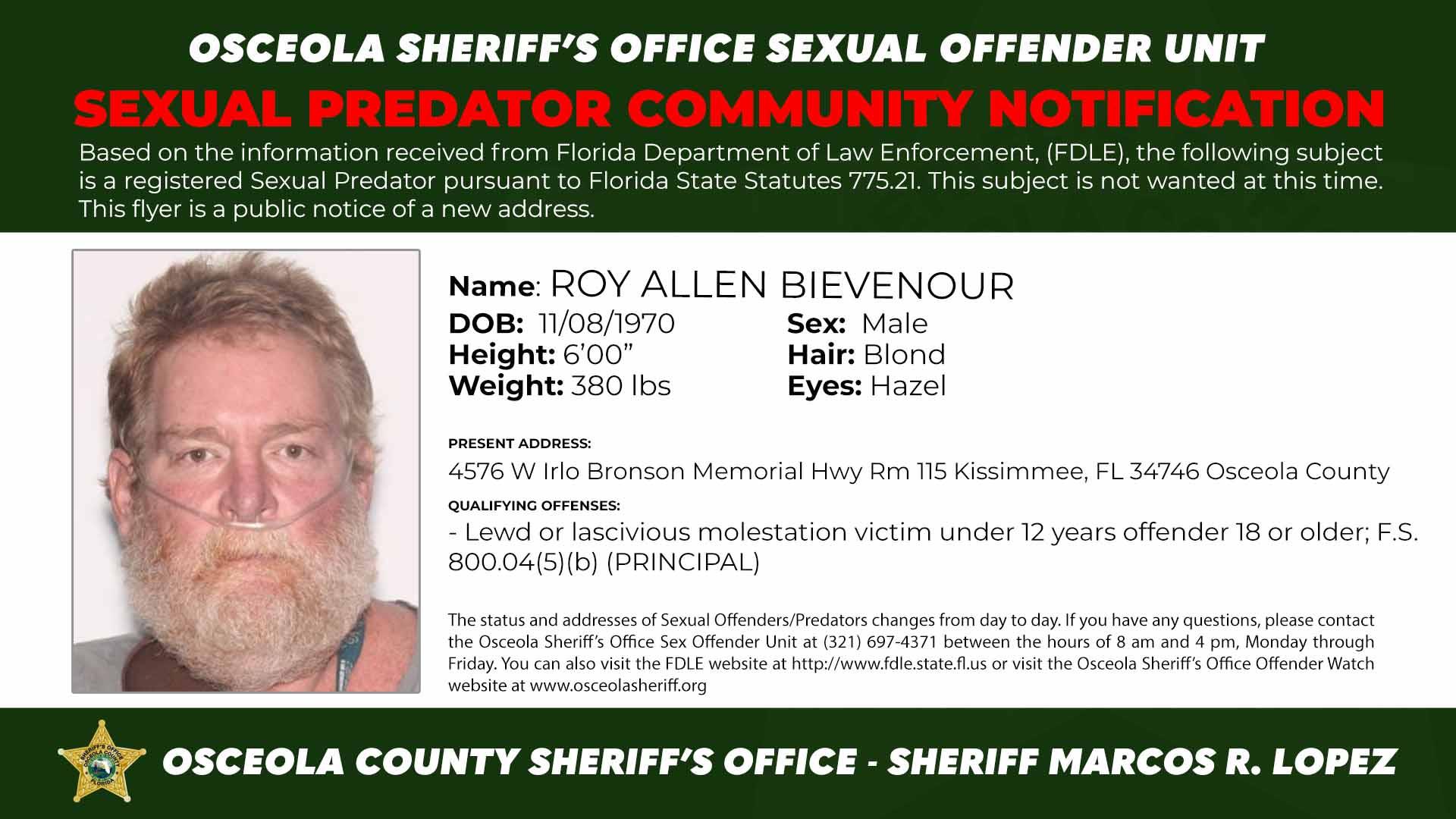 Roy Allen Brevenour - Sexual Predator