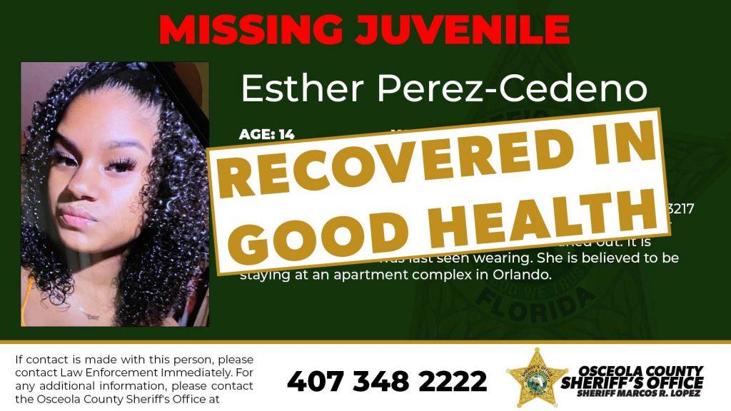 Esther Perez Found in good health
